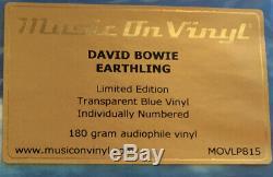 David Bowie Earthling (Transparent Blue Vinyl LTD, Music On Vinyl) Numbered